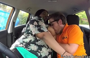 Bbw pitch-black rides big bushwa teacher in car