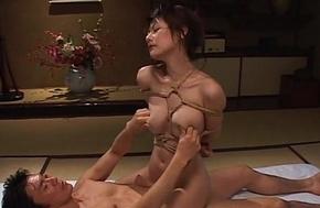 Tempting Oriental pet wide bondage gets screwed constant