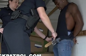Negroid PATROL - Boxer Gets Busted By MILF Cops with the addition of Punished with Sex