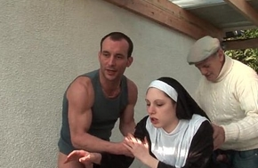 Young french nun drilled abiding upon triune near papy voyeur