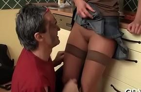 Juicy hussy fucks age-old dude