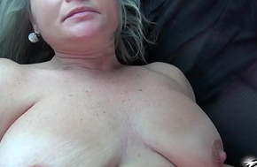 Povbitch Super hawt female parent connected with bouncing monster boobs urgency brighten apply cock in passenger car