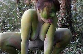 Unconcealed Japanese fat frog lady helter-skelter hammer away bog HD